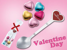 バレンタイン専用スプーンとチョコレートセット